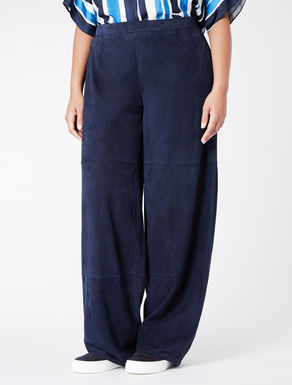 Nappa suede palazzo trousers