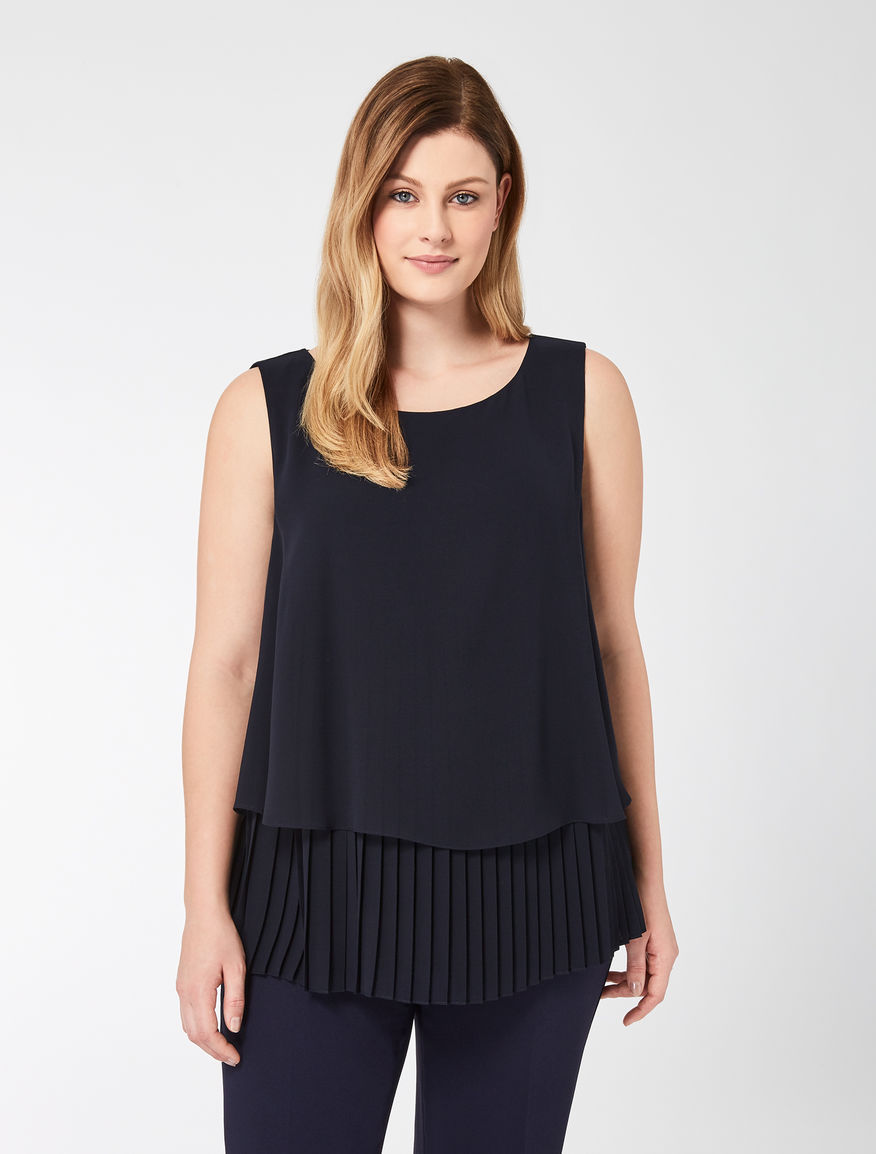 Georgette top with pleated insert