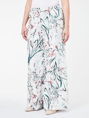 Silk twill palazzo trousers