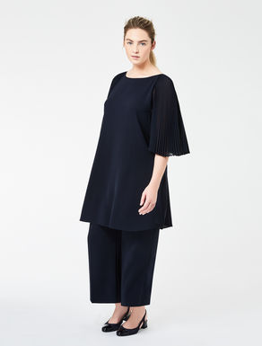 Triacetate dress with pleated sleeves