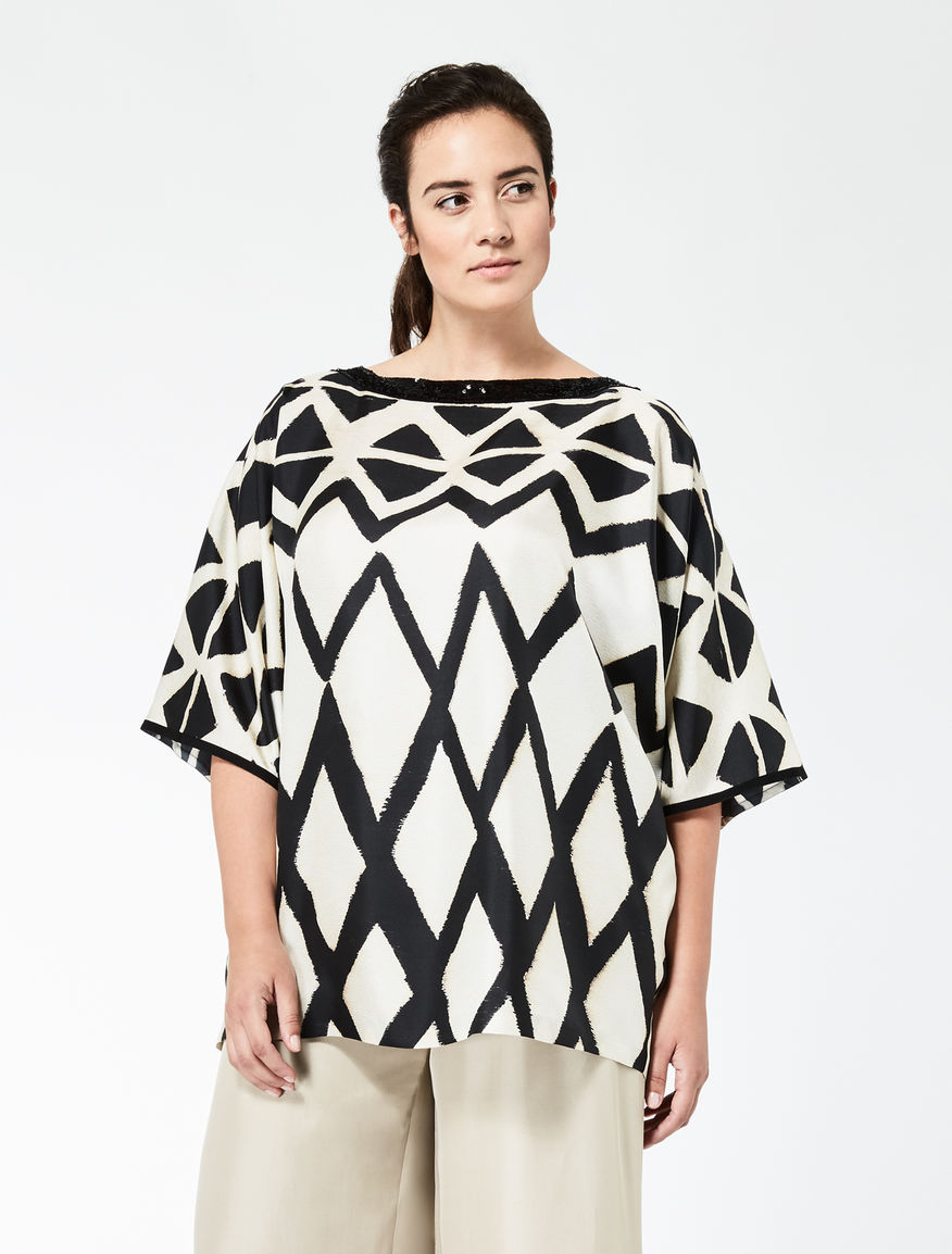 Silk twill tunic with embroidery