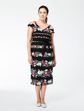 Printed stretch cady tube dress