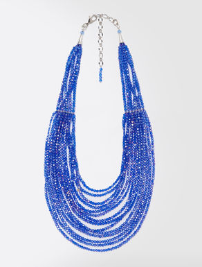 Multi-strand necklace with glass beads