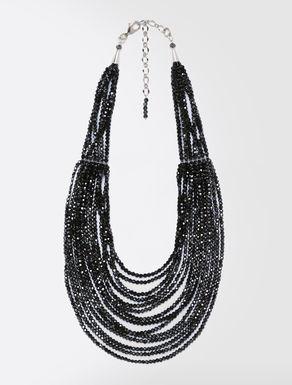 Collana multifilo con perline di vetro