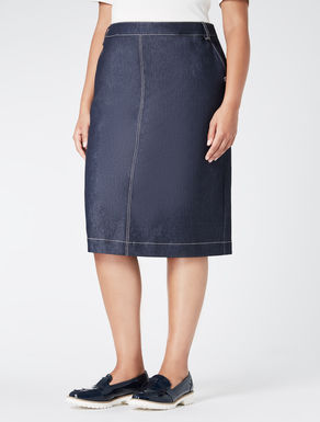 Lightweight denim-effect longuette skirt