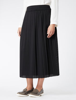 Pleated technical-mesh skirt