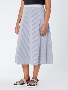 Striped poplin midi skirt