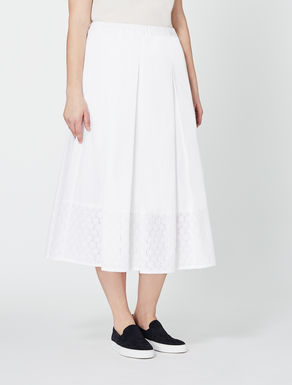 Cotton poplin midi skirt