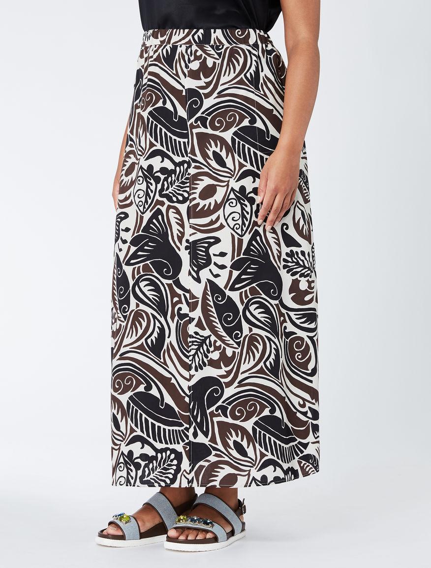 Long printed poplin skirt