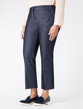 Denim-effect cigarette trousers