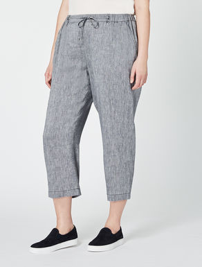 Cropped viscose and linen trousers