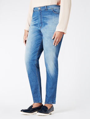 Stretch denim mini-boyfriend jeans