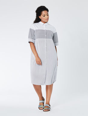 Striped poplin shirt-dress
