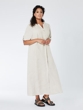 Long linen shirt-dress