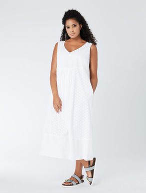 Long eyelet embroidery and poplin dress