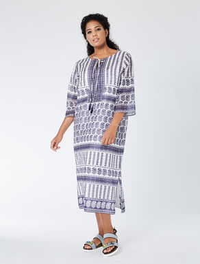 Long dress in printed muslin