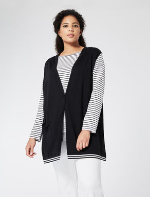 Knit gilet with striped base