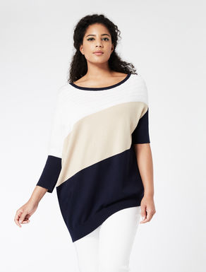 Asymmetrical colour-block sweater