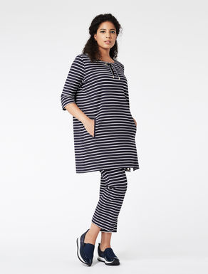 Striped jersey dress with ties