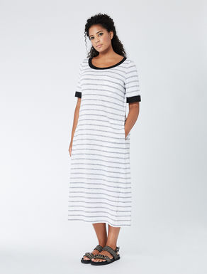 Long striped linen jersey dress