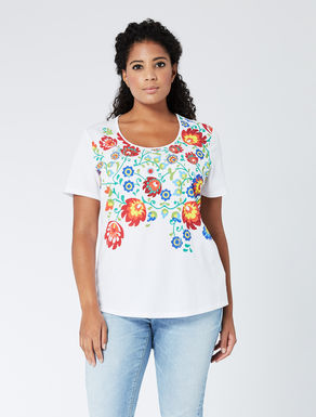 Printed jersey T-shirt with rhinestones