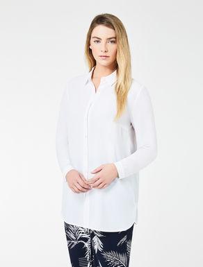 Long silk blend crêpe shirt