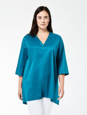 Cotton poplin A-line shirt