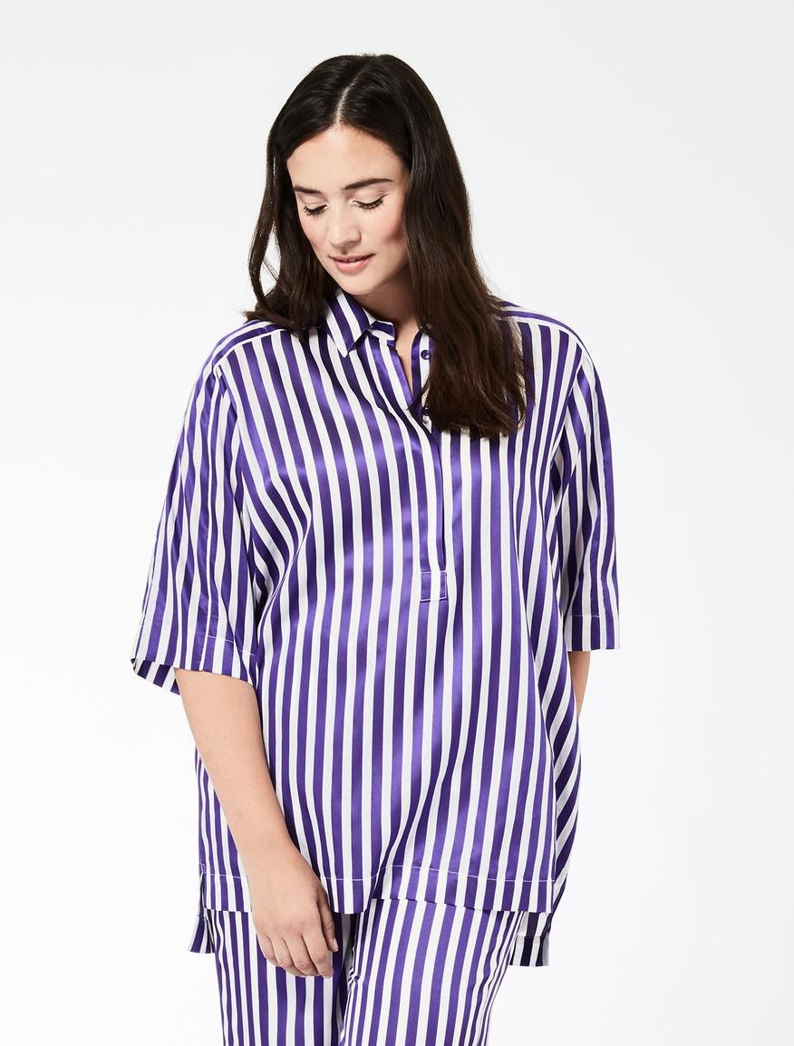 Oversize cotton and viscose shirt