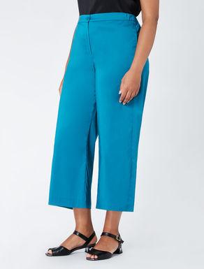 Cropped cotton poplin trousers