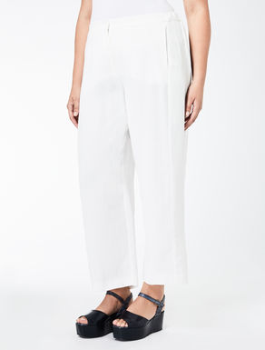 Pantalone palazzo in crêpe di lino