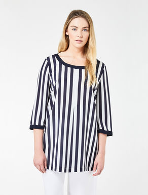 Striped crêpe tunic
