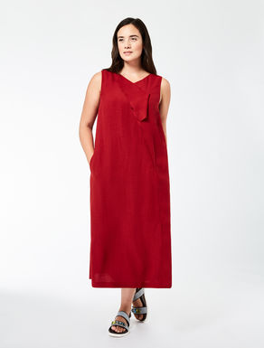 Long linen crêpe and viscose dress
