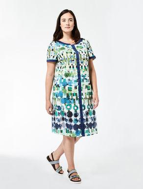 Printed poplin A-line dress