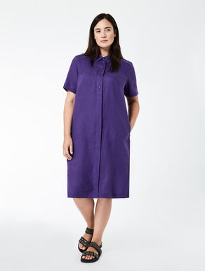 Linen dress with metal insert