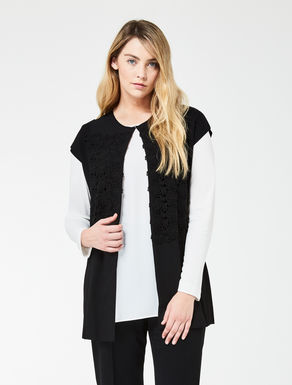 Viscose comfort cardigan with lace