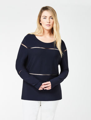 Long striped crêpe sweater