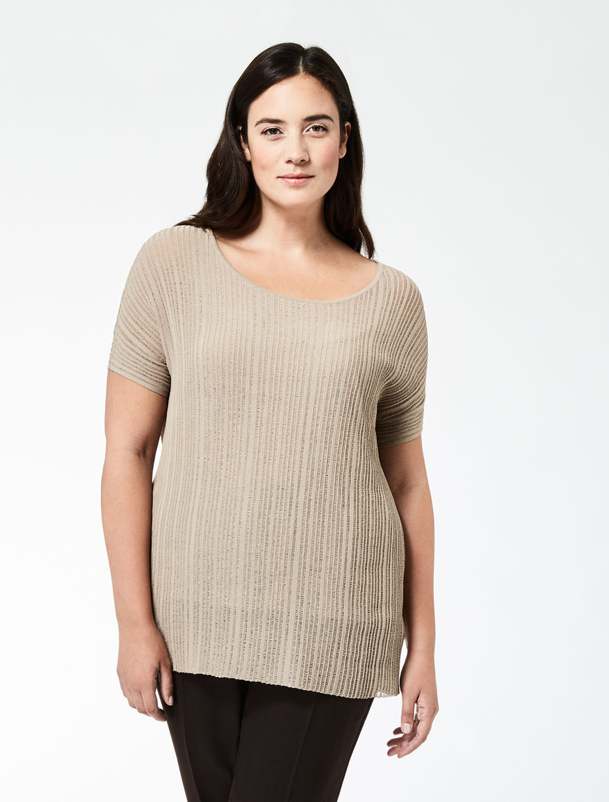 Ribbed viscose crêpe sweater