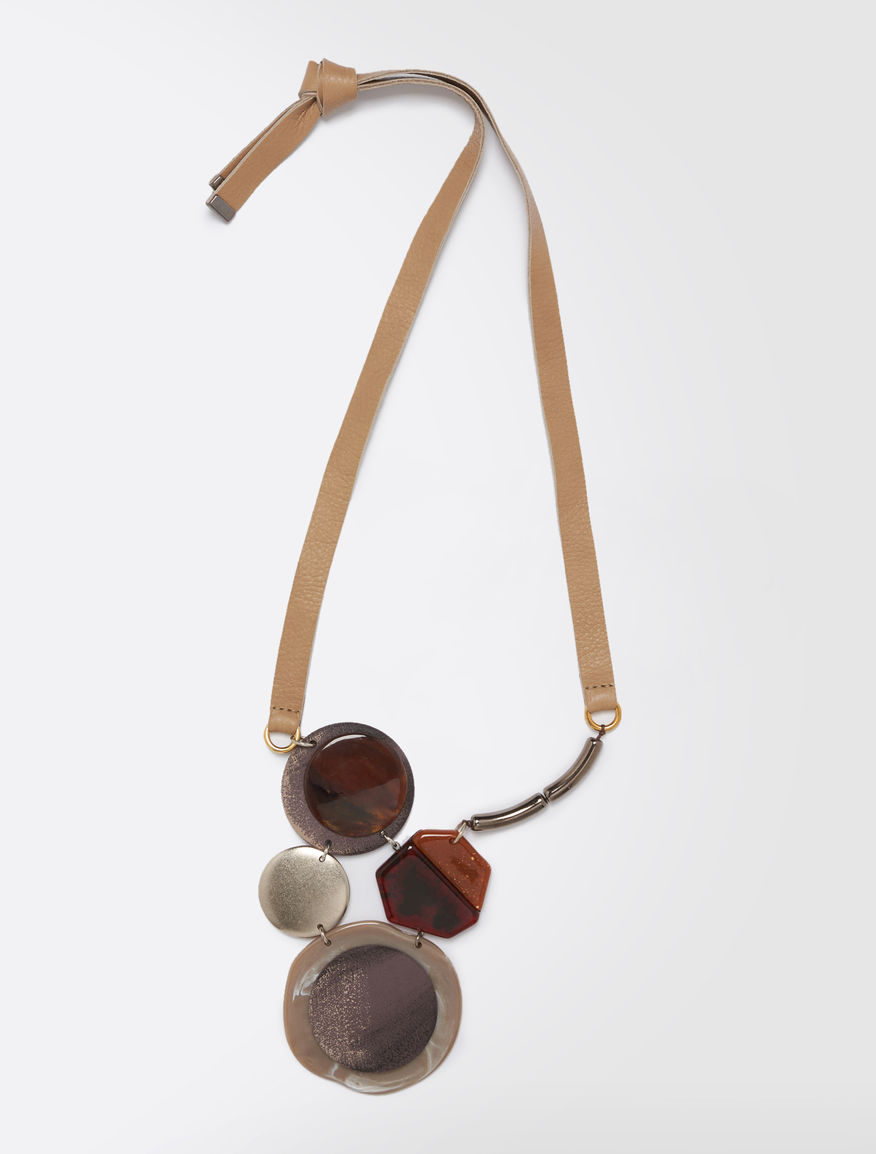 Resin necklace with leather bow