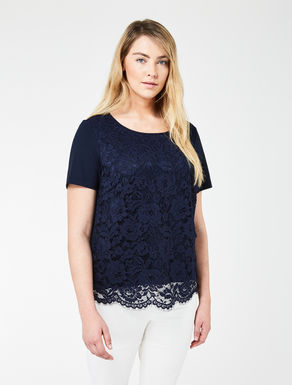 Stretch jersey and lace T-shirt