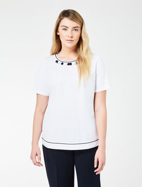 Embellished jersey and cotton T-shirt