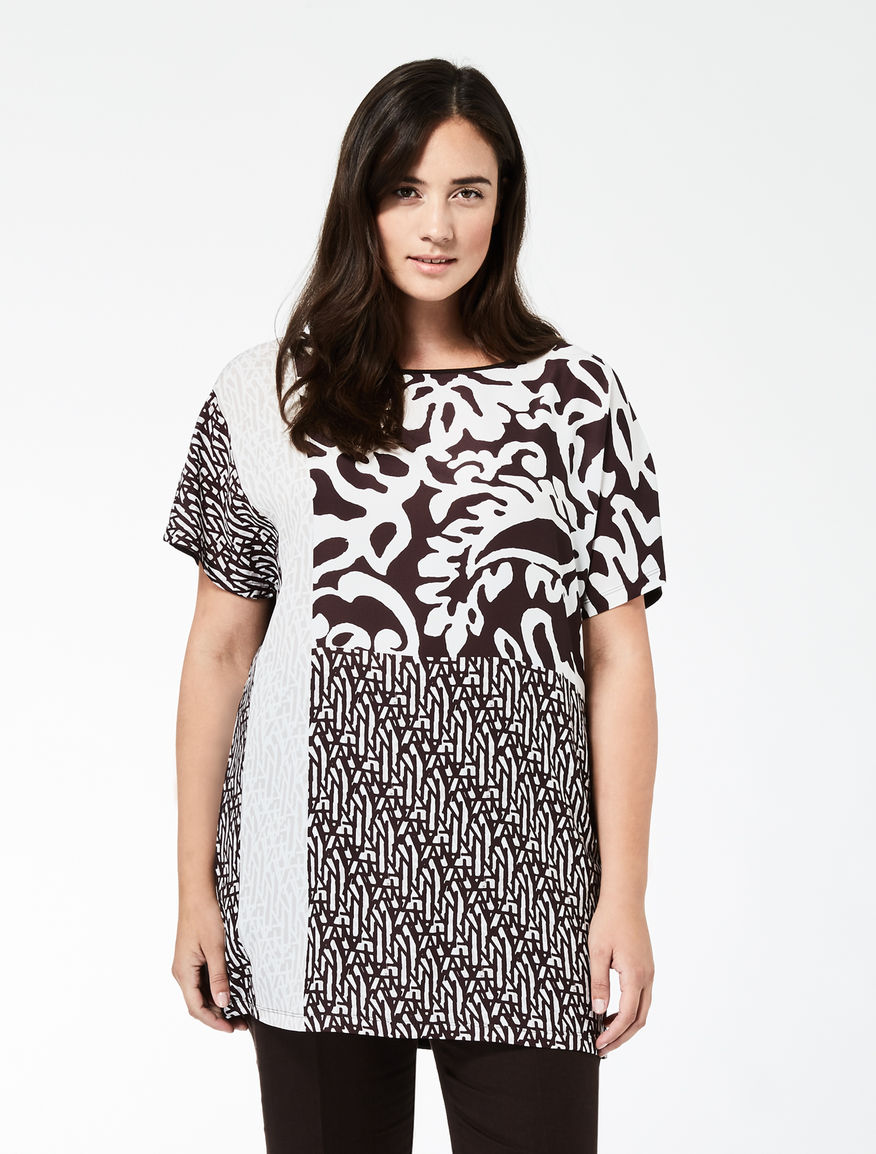 Oversize jersey and fabric T-shirt