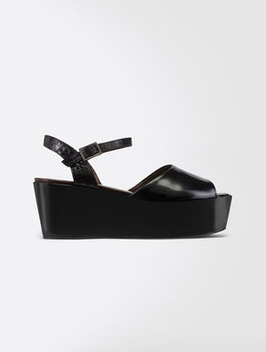 Leather and reptile platform sandals
