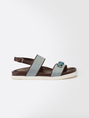 Canvas and leather embellished sandal