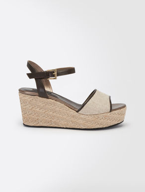 Canvas and leather platform sandals
