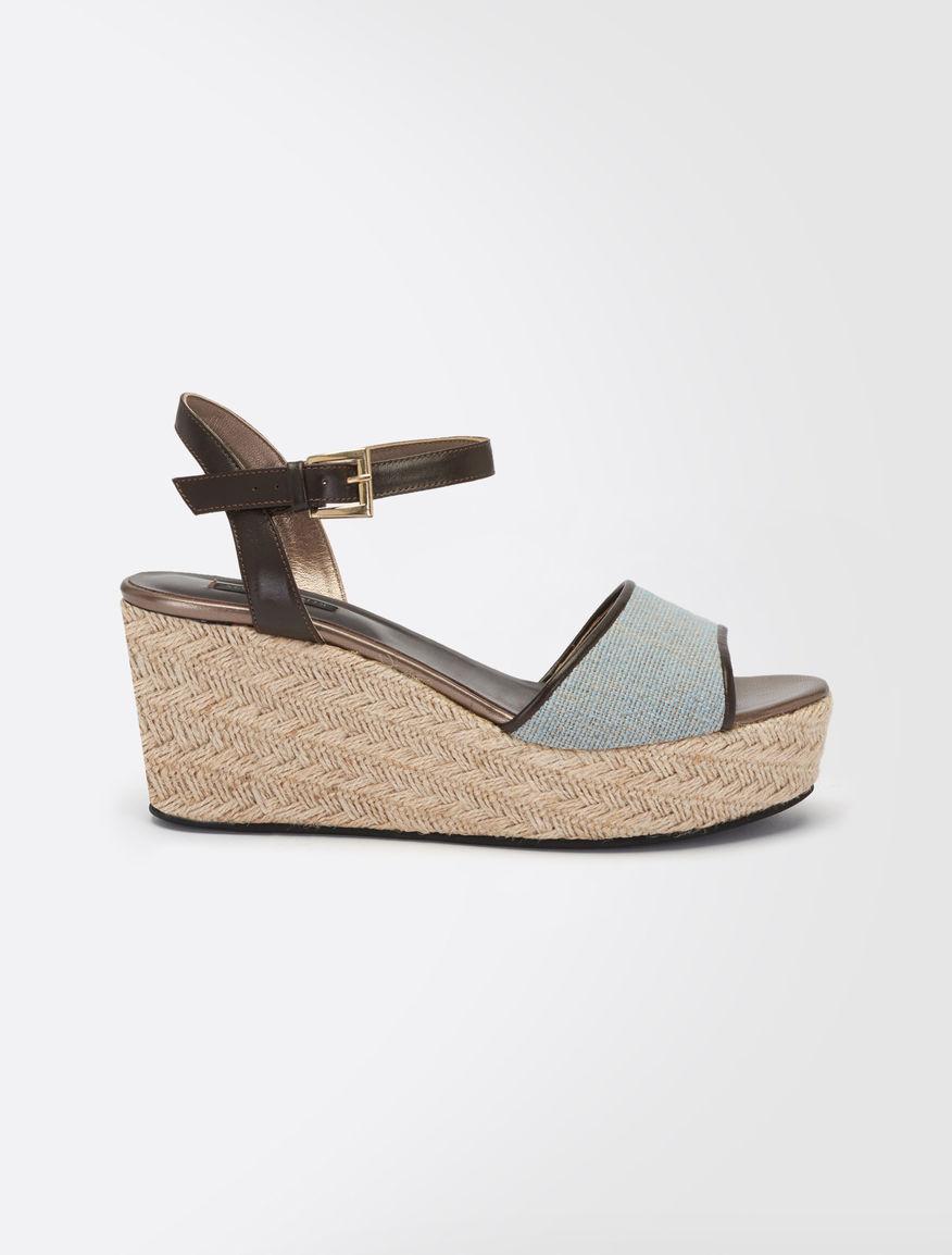 Canvas and leather platform sandals