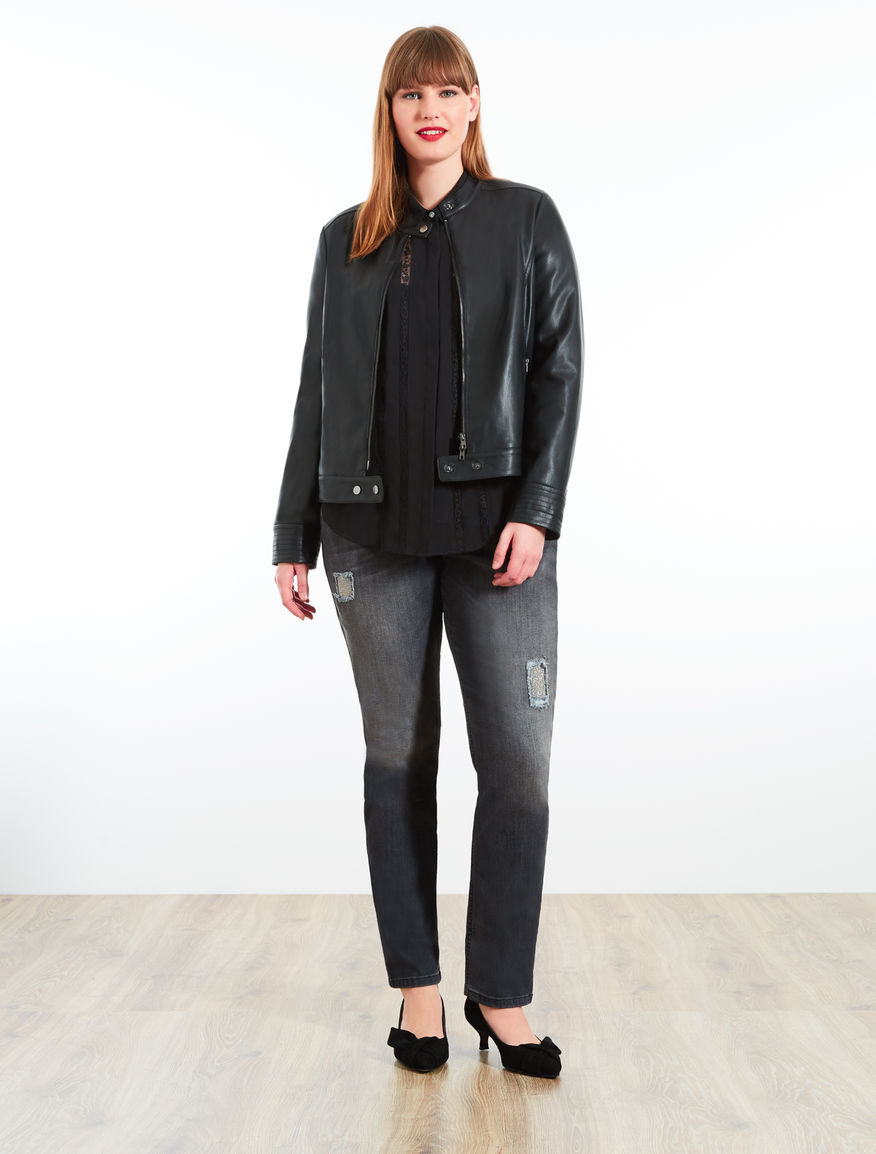 Coated-effect jacket