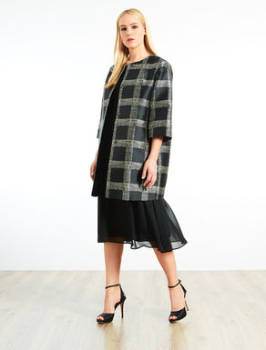 Patterned mikado duster coat