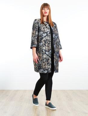 Floral jacquard duster coat
