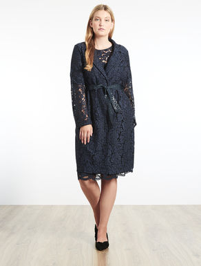 Embellished lace duster coat