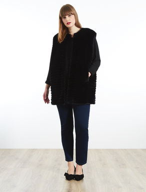 Long faux rabbit fur gilet